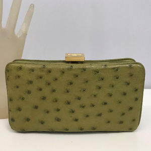 Ostrich Kiwi Green Wallet Clutch